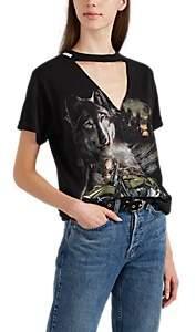 Couture Forte Dei Marmi Women's Wolf-Print Cotton T-Shirt - Black