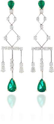 """ara Vartanian 18K Gold"""" Diamond And Emerald Earrings"""