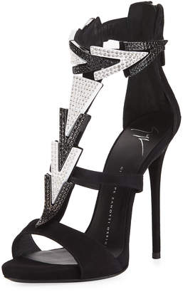Giuseppe Zanotti High-Heel Embellished Strappy Suede Sandal