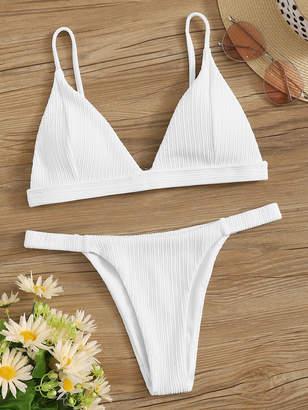 Shein Triangle Top With Tanga Bikini Set