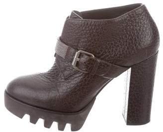 Brunello Cucinelli Monili-Embellished Leather Round-Toe Ankle Boots