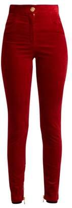 Balmain - Stretch Velvet Skinny Trousers - Womens - Red