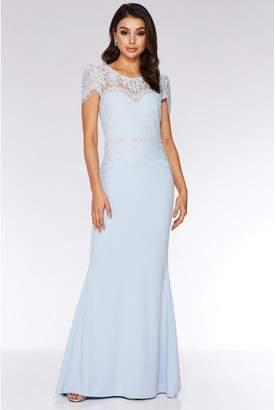 Quiz Light Blue Lace Embellished Fishtail Maxi Dress