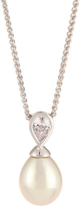 Majorica Baroque Pearl & Teardrop CZ Crystal Pendant Necklace, White