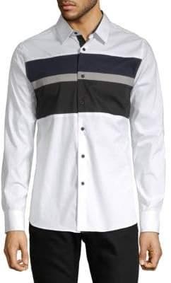 Karl Lagerfeld Long Sleeve Colorblock Shirt