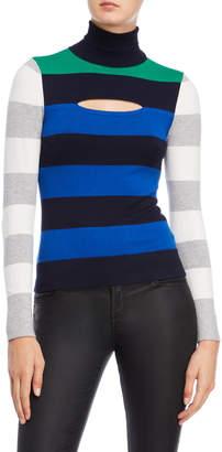 Karen Millen Color Block Turtleneck Sweater