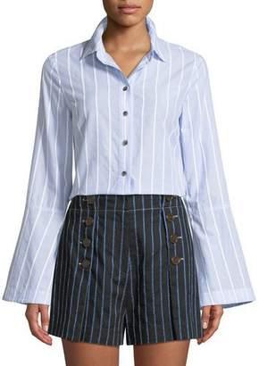 Derek Lam 10 Crosby Bell-Sleeve Striped Button-Down Shirt