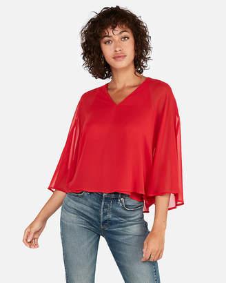 Express Solid V-Neck Kimono Sleeve Blouse