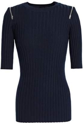 Joseph Zip-Detailed Ribbed Merino Wool-Blend Sweater