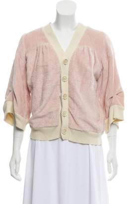 Undercover Terrycloth V-Neck Cardigan Pink Terrycloth V-Neck Cardigan