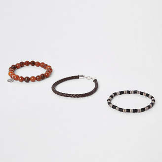 River Island Brown bead and faux leather bracelet pack