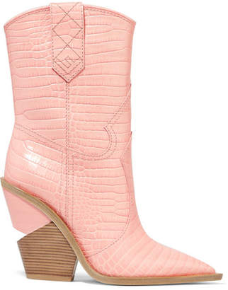 Fendi Croc-effect Leather Boots - Baby pink