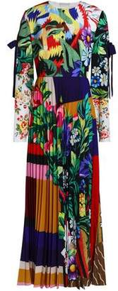 Mary Katrantzou Pleated Printed Crepe De Chine Maxi Dress