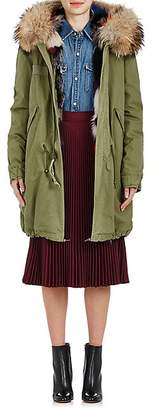Mr & Mrs Italy Women's Fur-Trimmed Canvas Midi-Parka - Dk. Green