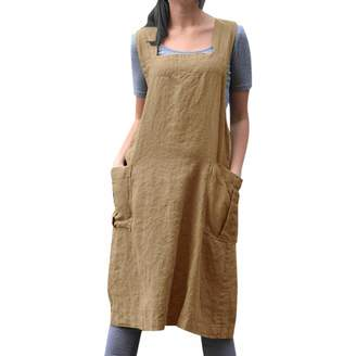 AmyDong Women Dress Women's Casual Vintage Cross Back Baggy Pinafore, AmyDong Loose Apron Midi Dress with Pocket
