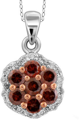 FINE JEWELRY 1/4 CT. T.W. White & Color-Enhanced Red Diamond Cluster Sterling Silver Pendant