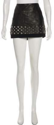 Diane von Furstenberg Leather Embellished Mini Skirt