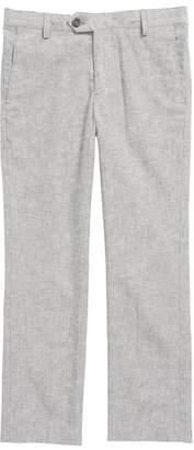 Nordstrom Elliott Flat Front Linen & Cotton Trousers