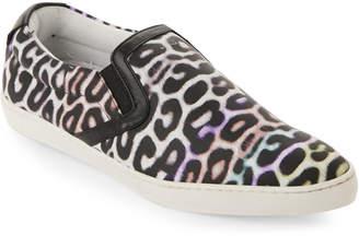 Just Cavalli Leopard-Print Leather Slip-On Sneakers