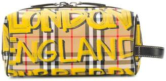 Burberry graffiti-print vintage check wash bag