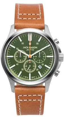 Jack Mason Field Chronograph Leather Strap Watch, 42mm