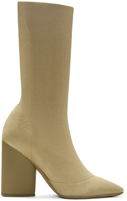 YEEZY Beige Knit Ankle Boots $895 thestylecure.com