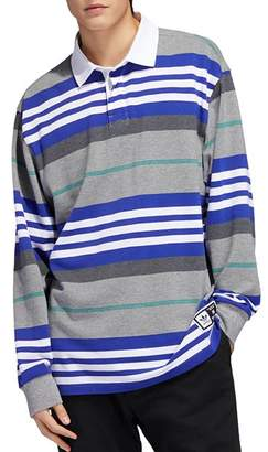 adidas Cleland Striped Long-Sleeve Regular Fit Polo Shirt