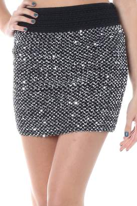 Solution Clothing Bangbangusa Women Sequined Mini Skirt With Elastic Waistband(M/L,)