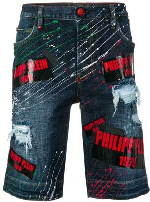 Philipp Plein paint splattered denim shorts