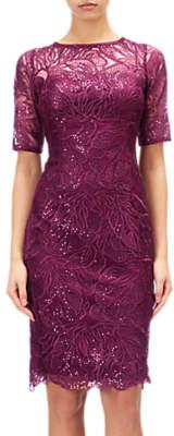 Adrianna Papell Lace Sequin Illusion Neckline Dress, Cabernet
