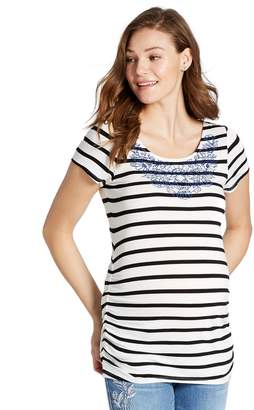 Jessica Simpson Motherhood Maternity Embroidery Maternity T Shirt