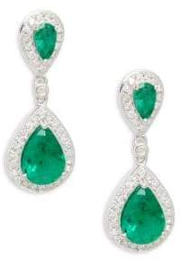 Effy Diamond & Emerald 14K White Gold Double Teardrop Earrings
