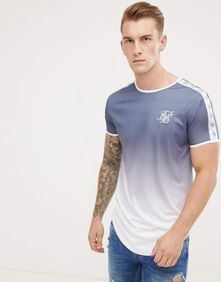 SikSilk t-shirt in navy fade