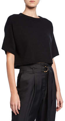 Sally LaPointe Airy Cashmere-Silk Cropped Boxy Tee