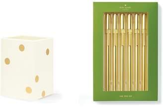Kate Spade Strike Gold Pens & Pen Cup