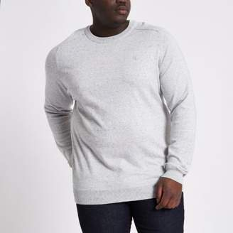 River Island Mens Big and Tall light grey knit crew neck sweater