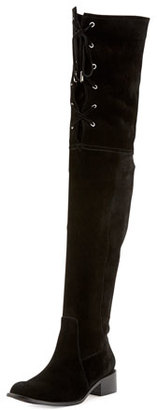 Delman Stacy Over-the-Knee Lace-Up Boot, Black $528 thestylecure.com