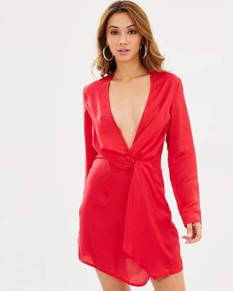 Missguided Silky Plunge Wrap Shift Dress
