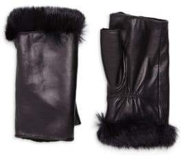 Glamour Puss Glamourpuss Rabbit Fur Trim Fingerless Leather Gloves