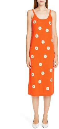 Mansur Gavriel Daisy Embroidered Midi Sweater Dress