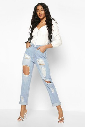 boohoo High Waist Distress Mom Jeans