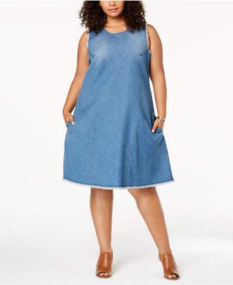 Style&Co. Style & Co Plus Size Cotton Raw-Hem Denim Swing Dress