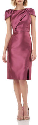 Kay Unger New York Boat-Neck Pleated Cap-Sleeve Sheath Dress with Slit