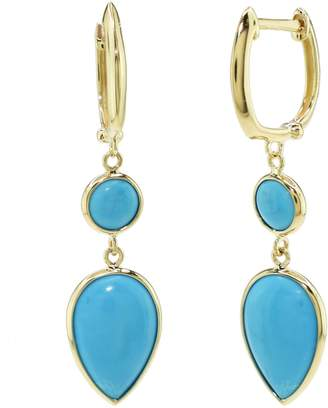 14k Gold Simulated Turquoise Teardrop Cabochon Earrings