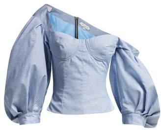 Natasha Zinko Asymmetric Off The Shoulder Check Cotton Top - Womens - Blue