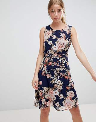 QED London Floral Print Skater Dress