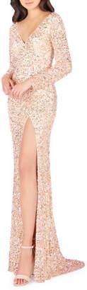 Mac Duggal Sequin V-Neck Long-Sleeve High-Slit Gown