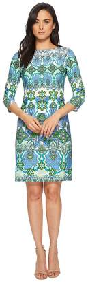 London Times Mayan Border Matte Jersey Shift Women's Dress