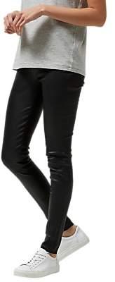 Selected Silvia Slim Fit Leather Leggings, Black