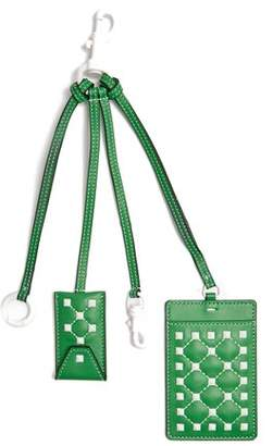 Valentino Free Rockstud Leather Cardholder Key Ring - Womens - Green White